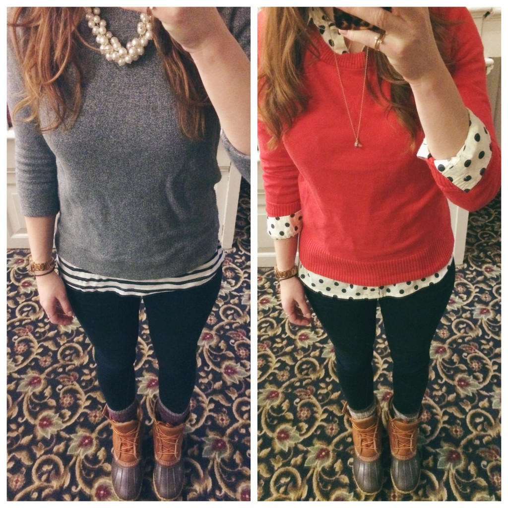 pattern mixing ll bean boot outfit