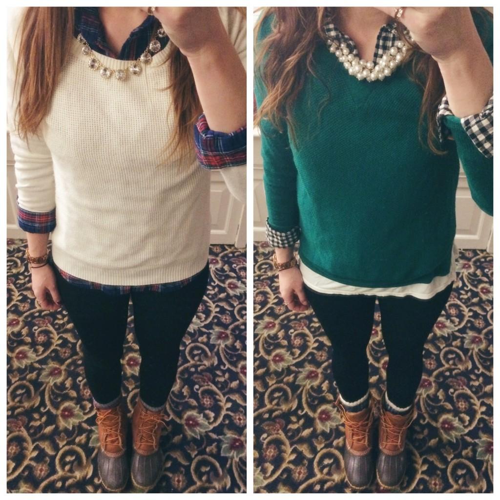 oxford shirt sweater ll bean boots