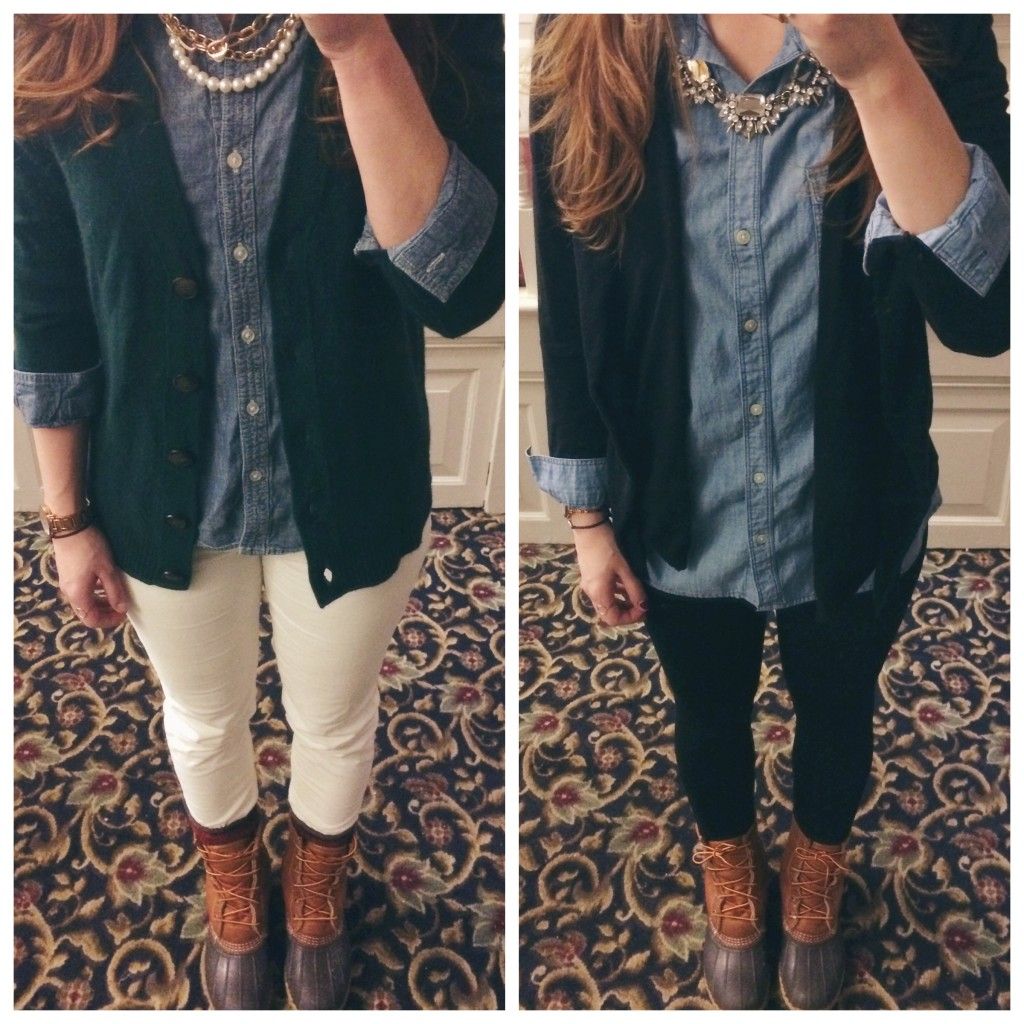 chambray cardigan ll bean boots outfit