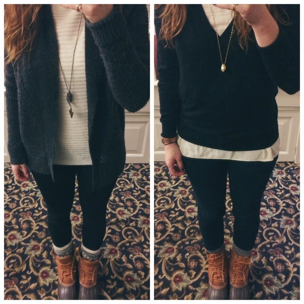 comfy sweaters and ll bean boots outfit