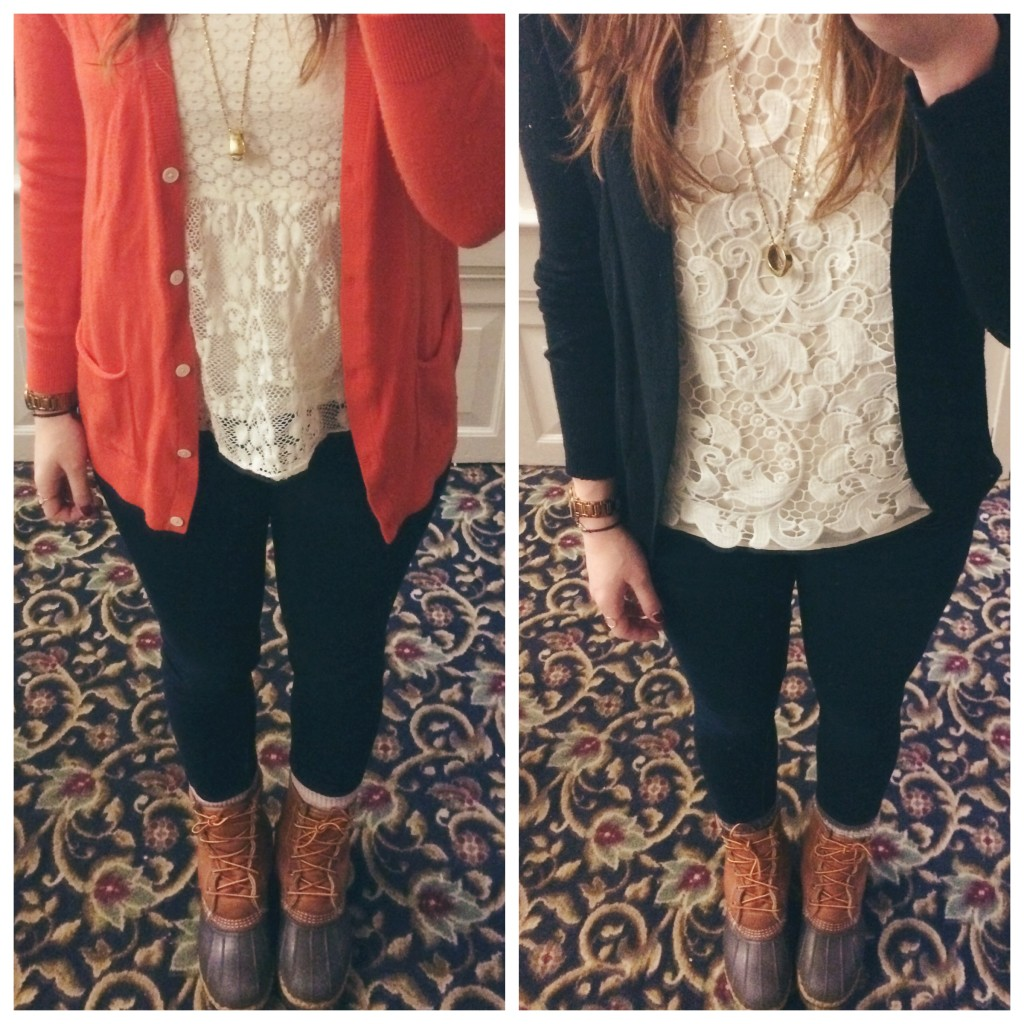lace shirt ll bean boot outfit